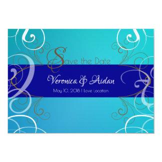 Cartão A turquesa e o design elegante azul salvar a data