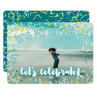 Cartão A turquesa polvilha a festa de aniversário feita