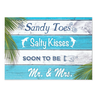 Cartão A turquesa Sandy Toes a festa de noivado salgado