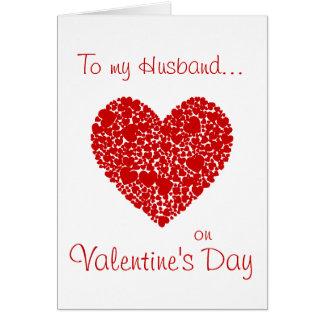 Cartão A um marido no coração Dia-Vermelho dos namorados