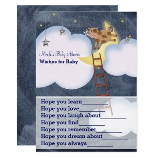 Cartão A vaca que salta sobre desejos da lua para o jogo