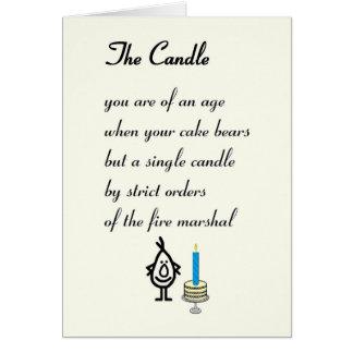 Cartão A vela - um poema engraçado do aniversário