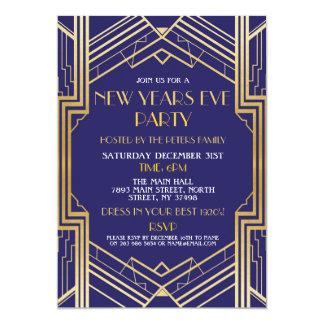 Cartão a véspera de ano novo dos anos 20 convida o ouro