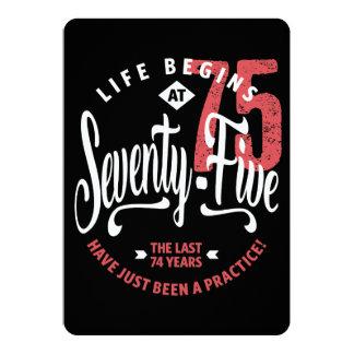 Cartão A vida começa aniversário de 75% pipe% no 75th