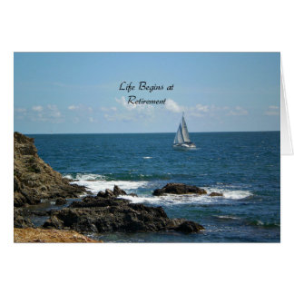Cartão A vida começa na aposentadoria, navegando o azul
