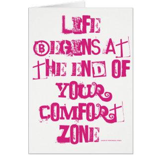 Cartão A vida começa no fim de sua zona de conforto