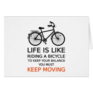 Cartão a vida é como a montada de uma bicicleta, arte da