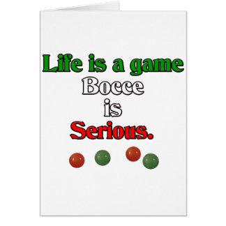 Cartão A vida é um jogo. Bocce é sério