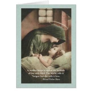 Cartão A Virgem Maria que consola a criança na cama OBTEM