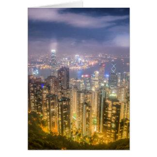 Cartão A vista de Hong Kong do pico