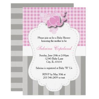 Cartão A xadrez cor-de-rosa & branca com cinzas listra o