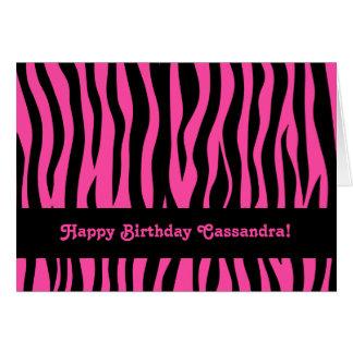 Cartão A zebra do rosa quente listra o aniversário para