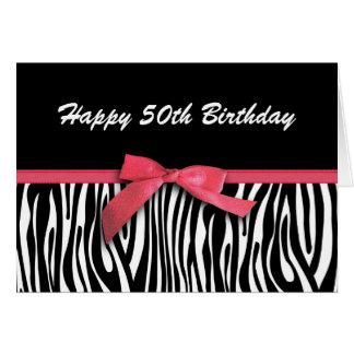 Cartão A zebra listra aniversário feliz do fita-olhar