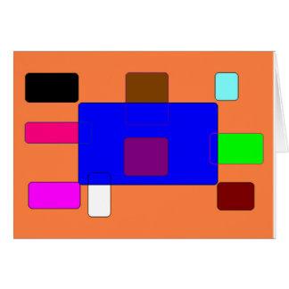 Cartão Aba - arte abstracta colorida no fundo alaranjado