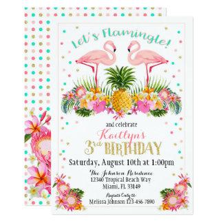 Cartão Abacaxi do flamingo e aniversário floral tropical