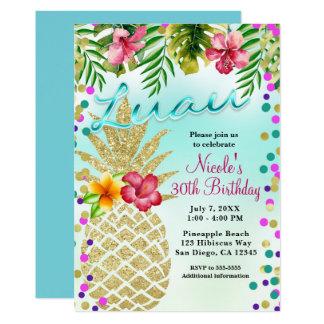 Cartão Abacaxi do ouro & partido tropical de Luau das