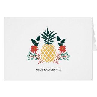 Cartão Abacaxi havaiano do Natal de Mele Kalikimaka |