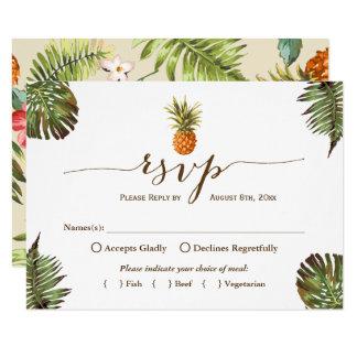 Cartão Abacaxi tropical Luau havaiano RSVP das folhas