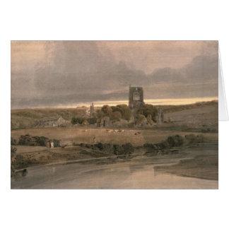 Cartão Abadia de Kirkstall, Yorkshire - noite
