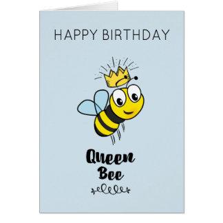 Cartão Abelha de rainha bonito com feliz aniversario da