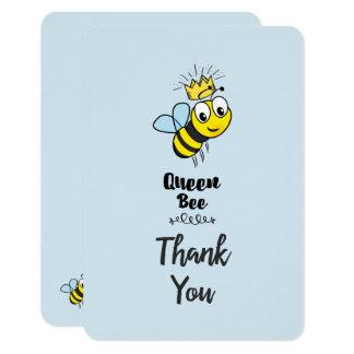Cartão Abelha de rainha bonito com obrigado da coroa você