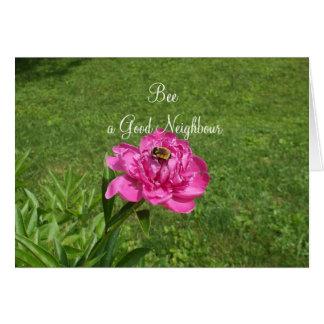 Cartão Abelha em um Flor-Bom dia vizinho vermelho