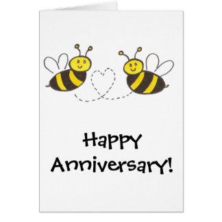 Cartão Abelhas do mel com coração