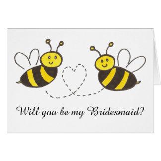 Cartão Abelhas do mel com coração você será minha dama de