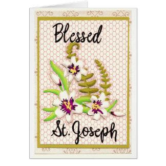 Cartão abençoado de St Joseph com lírios