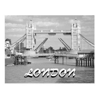 Cartão aberto preto e branco de Londres da ponte