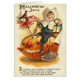 Cartão Abóbora Apple da lanterna de Jack O do menino do