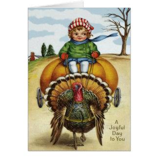 Cartão Abóbora da equitação do menino de Turquia da acção