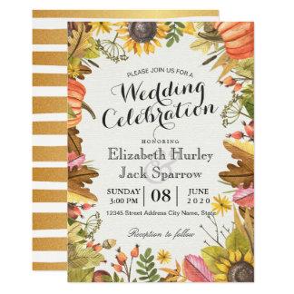 Cartão Abóbora das folhas de bordo da queda do outono do