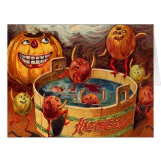 Cartão Abóbora de sorriso Apple da lanterna de Jack O