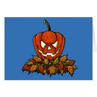Cartão abóbora de sorriso má do Dia das Bruxas