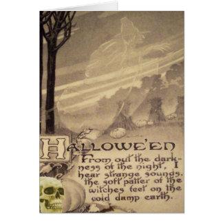 Cartão Abóbora do crânio da bruxa do vôo