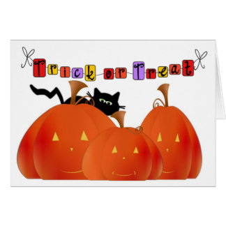 Cartão Abóboras do Dia das Bruxas/gato preto