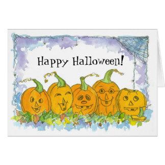 Cartão Abóboras felizes da Jack-O-Lanterna do Dia das