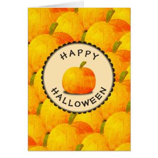 Cartão Abóboras o Dia das Bruxas feliz