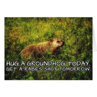 Cartão Abrace um groundhog hoje. Fique uma raiva