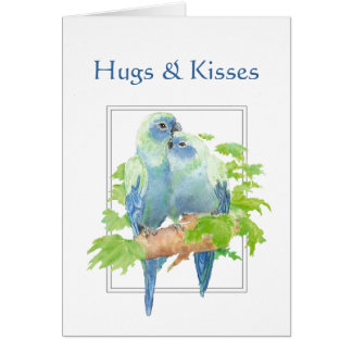 Cartão Abraços & casal do papagaio dos beijos e dos
