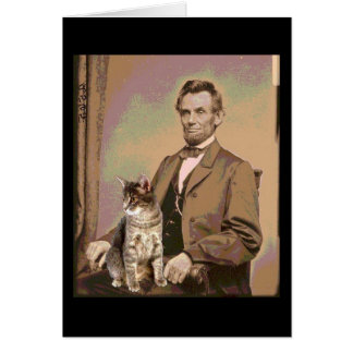 Cartão Abraham Lincoln e seu gato Dixie