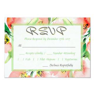 Cartão Abricó RSVP Wedding floral da aguarela