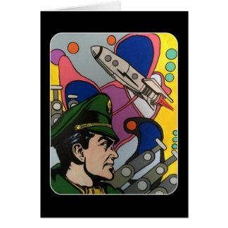 Cartão Abstrato atômico a pintura do capitão de Rocket em