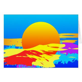 Cartão Abstrato colorido do por do sol do nascer do sol