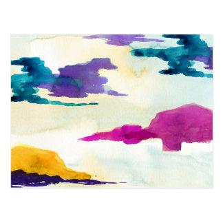 Cartão abstrato colorido pintado do Watercolour