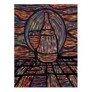 Cartão abstrato da arte da garrafa de vinho & do