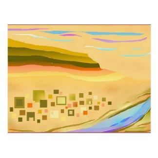 Cartão abstrato da arte da paisagem do deserto de