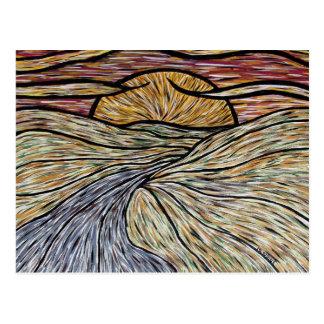 Cartão abstrato da arte do por do sol