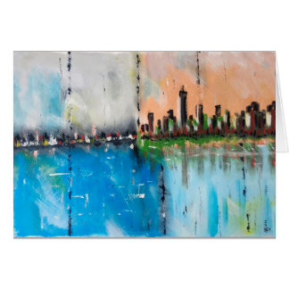 Cartão abstrato da pintura da cidade